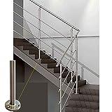 Parpyon® Ringhiera Scala in acciaio Inox AISI 304 PER INTERNO Tubo Corrimano 1-3 metri Fissaggio a PARETE - PAVIMENTO montaggio FACILE fai da te Passamano Parapetti scale (3 mt pavimento)