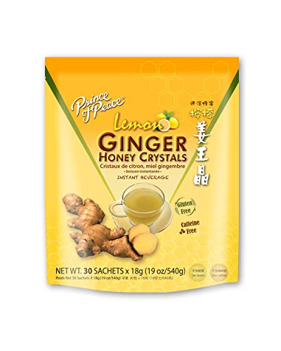Prince of Peace Instant Lemon Ginger Honey Crystals, 30 Sachets – Instant Hot or Cold Beverage for Nausea Relief and Soothes Throat – Easy to Brew Ginger and Honey Crystals – Drink Like a Tea –