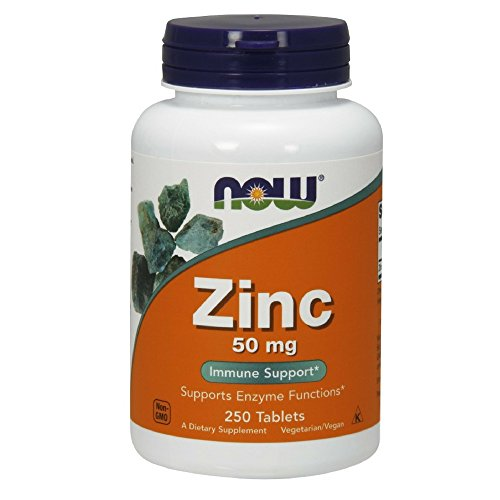 NOW Supplements, Zinc (Zinc Gluconate) 50 mg, Supports Enzyme Functions*, Immune Support*, 250 Tablets