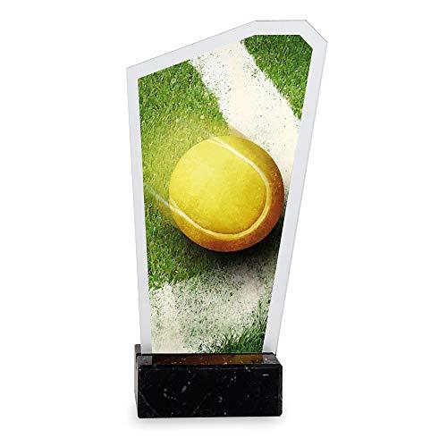 Trofeos Martínez - Trofeo de metacrilato Impreso a Color con Base mármol Tenis. (16cm)