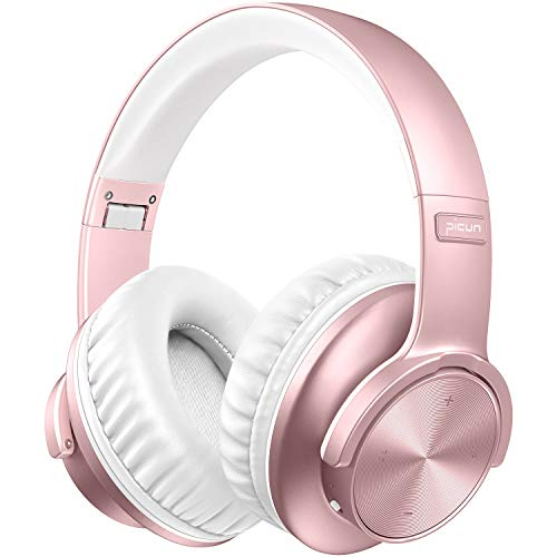 Wireless Headphones, Picun 40 Hours Playtime Bluetooth Headphones Over Ear with Deep Bass, Touch Control, Soft Protein Earpad, Bluetooth5.0 HIFI Sound Headsets w/Mic, Wired/TF Mode for PC TV-Rose Gold