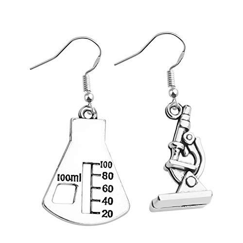 Microscope Dangle Earrings DNA Double Earrings Scientist Gifts Biology Chemistry Teacher Gift Science Nerd Jewelry Gifts (Beaker Earring)