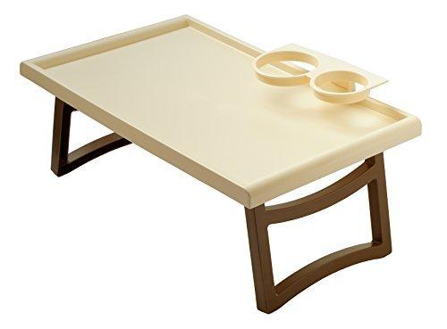 Plastia Serviertisch Betttisch Bett Tisch für Pflegebett Laptoptisch (Beige, Standard)