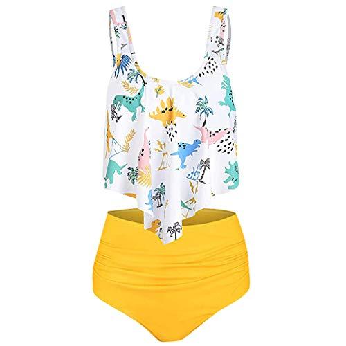 Zegeey Damen Badeanzug RüSchen Hals HäNgen Bikini Sets Zweiteilige Push Up High Waist Strandkleidung Mit Drucken Split Bademode(A9-Weiß,44 DE/3XL CN)