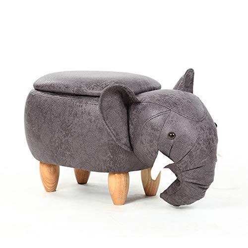 Jij Tabouret Elephant Pouf Chaise Coffre de Rangement Tabouret de Rangement Animaux Amusant pour Enfants Tabouret en Bois
