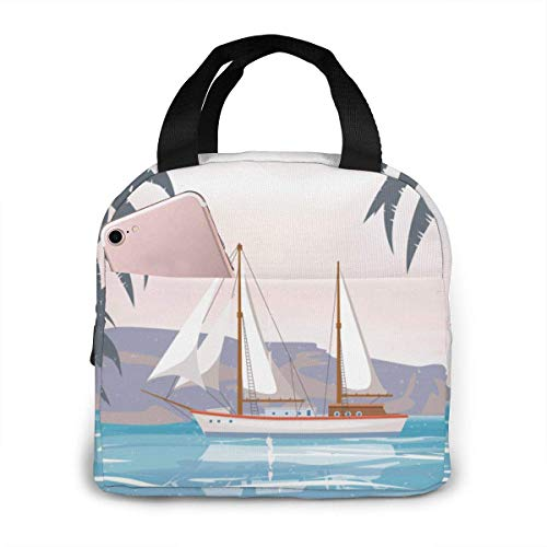 Portable Lunch Bag Beach Palm Tree Sailboat Portable Insulated Lunch Bag Picnic Bag Box College Work Hiking Beach School Picnic Or Travel