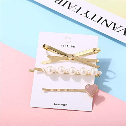 Modyle Woman Elegant Geometric low-pricing Pearl Clips Hairpins Hair Factory outlet Style A