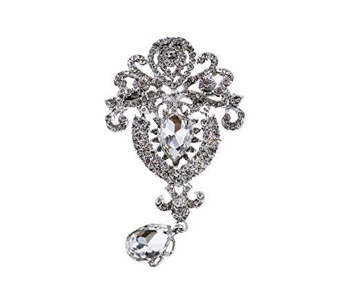 Create Idea Strauß Hochzeit Braut Kristall Strass Tropfen Brosche Große Blume Braut Brosche Silber