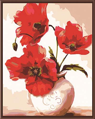 Lonfenner Xhzzdhbc schilderij op nummers, acrylschilderij, tekening, abstract, knutselen, olieschilderijen, flessen, bloemen Met frame