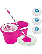 Ketsaal Spin Bucket Mop with 2 Refills & 1 Free Refill- Super Absorbent Refills for All Type of Floors, 360 Degree Spin Bucket, 180 Degree Bendable Handle, for Perfect Cleaning (Color May Vary)