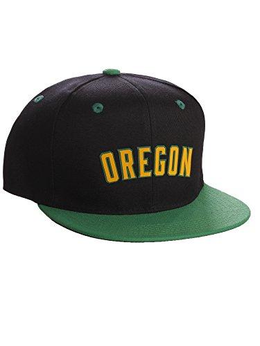 Original Snapback Custom American Cities State Letters Ajustable Flat Visor Cap (Oregon Black Green, Green Gold)
