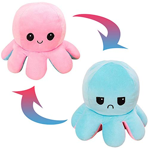 JXMORE Soft Reversible Octopus Plush Baby Toys, Flip Mood Octopus Reversible Plushie Doll, Stuffed Octopus Cute Plushies Gifts for Kids/Boys/Girls/Friends