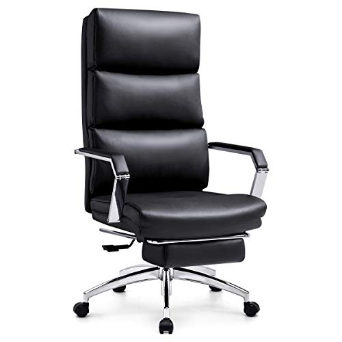 Ticova Executive Office Chair – High Back Rocking PU Leather Office Chair with Metal Armrest and Footrest – Reclining Computer Desk Chair with Ergonomic Segmented Back & Thick Padding