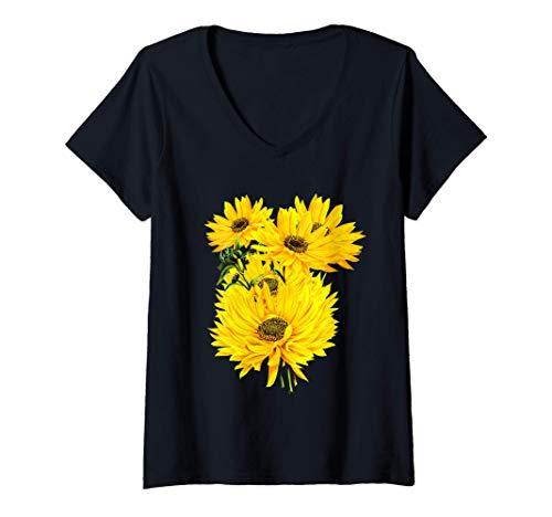 Mujer Tema de jardinería de grandes girasoles Camiseta Cuello V