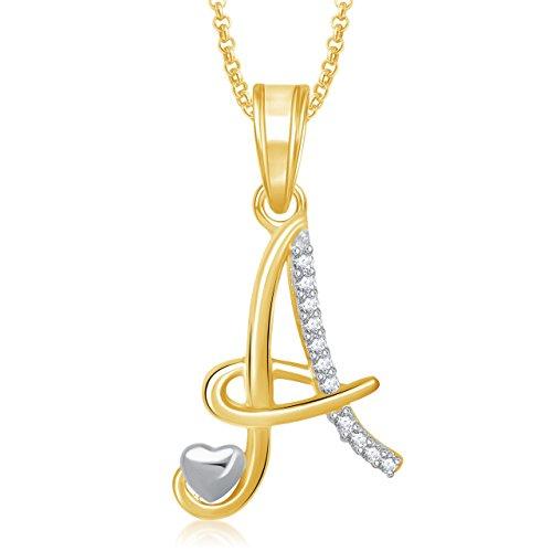 MEENAZ American Diamond 'A' Letter Pendant Locket Gold Plated Alphabet Chain Heart Pendants for Girls Men,Women Stylish Ps325