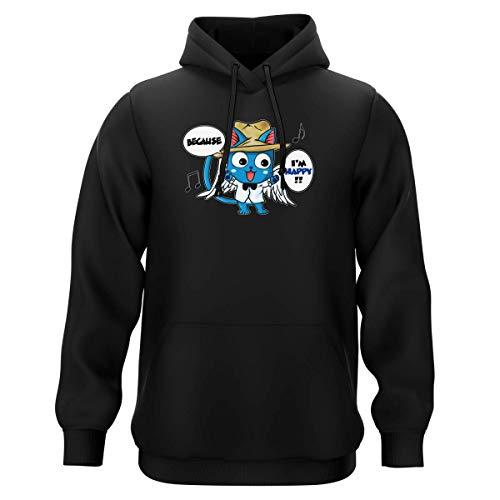 Okiwoki Sweat-Shirt à Capuche Noir Parodie Fairy Tail - Happy - Happy Williams : (Sweatshirt de qualité Premium de Taille S - imprimé en France)