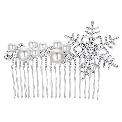 EVER FAITH Damen Haarkamm österreichischen Kristall Cream künstliche Perle Braut Schneeflocke Haarkämme Klar Silber-Ton