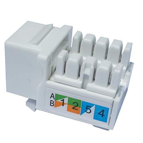 Keystone Jack RJ45 Ethernet Module Cat6 Network Coupler Punch Down Adapter Compatible Cat 6/5e/5 Connector(10-Pack White)