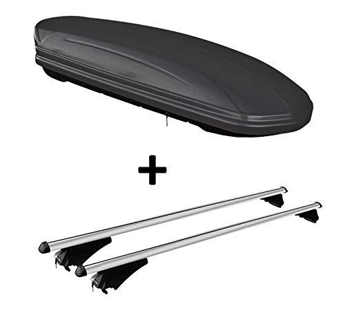 VDP Skibox schwarz matt MAA 460M 460 Liter abschließbar + Alu-Relingträger Dachgepäckträger aufliegende Reling im Set kompatibel mit Volvo XC90 ab 14
