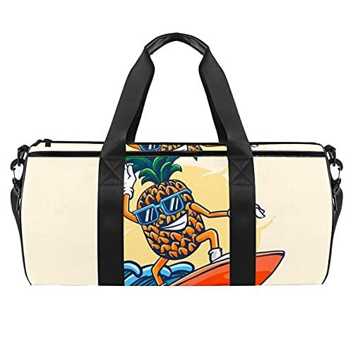 Grande borsa da viaggio borsa sportiva borsa a tracolla weekender borsa per donna e uomo zaffiro e giada vetro macchiato mandalas, Ananas Surf, 45x23x23cm/17.7x9x9in,
