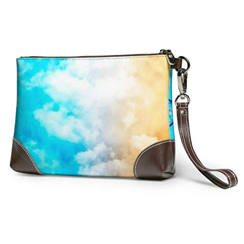 Hdadwy Wristlet Handbag Basketball Hoop On Court Under Dramatic Leather Wristlet Clutch Wallet For Women Phone Clutch Purse Smartphone Wristlet Purse