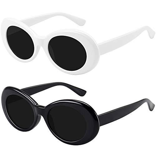 STORYCOAST Clout Gafas de sol Kurt Cobain Retro ovaladas con montura gruesa y lente redonda, paquete de 2 - - M