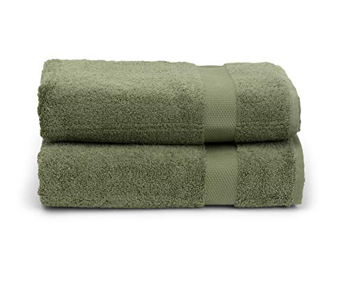 TowelSelections Pearl Collection Luxury Soft Towels – 100% Turkish Cotton, Made in Turkey, Moss, 2 Bath Towels