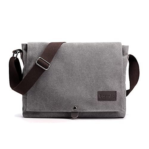 LOSMILE Schultertasche Herren,Canvas Messenger Bags Einfache. (Grau)