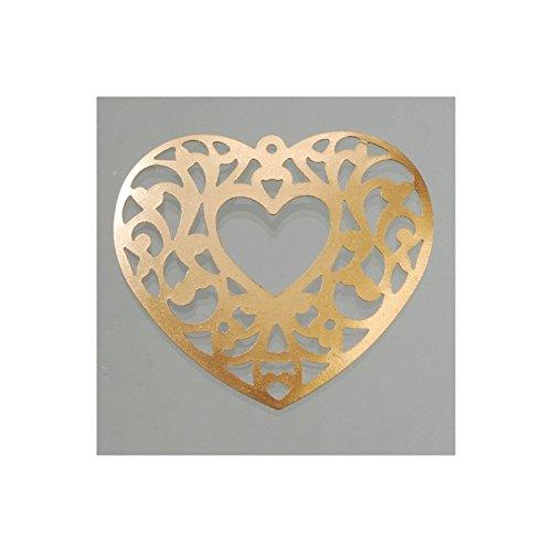 Artif Coeur en métal ajouré, Taille 5,5 cm, Lot de 6 pièces