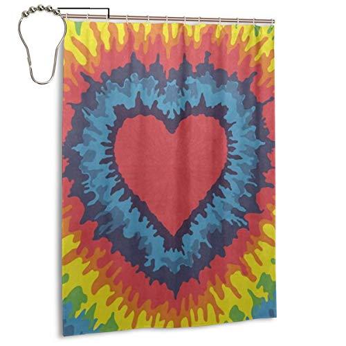 Honye Duschvorhang, Regenbogenfarben, Batik-Design, Polyester, wasserdicht, maschinenwaschbar, für Badezimmer, mit Bügelhaken, 139,7 x 182,9 cm Polyester und Polyester Blend Eisen-12