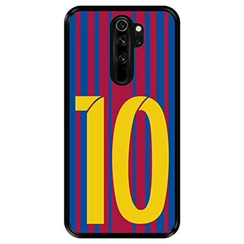Hapdey Funda Negra para [ Xiaomi Redmi Note 8 Pro ] diseño [ Ilustración fútbol, número 10 ] Carcasa Silicona Flexible TPU