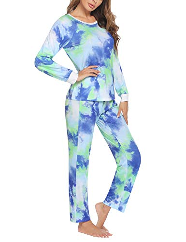 Unibelle Damen Set Lange Thermo Pyjama Unterwäsche Schlafanzug Winter Zweiteiliger Nachtwäsche Rundhalsausschnitt