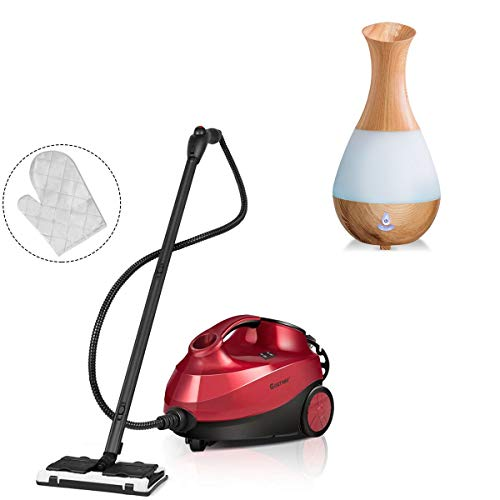 Sale!! COSTWAY 2000W Multipurpose Steam Cleaner with 19 Accessories, Household Steamer w/ 1.5L Tank for Chemical-Free Cleaning, Heavy Duty Rolling Cleaning Machine for Carpet, Floors, Windows and Cars, Red