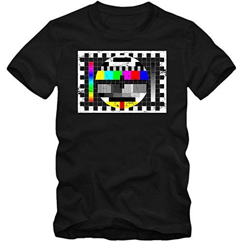 Testscreen T-Shirt | Herren | Fernseher | Testbild | TV | XS-5XL, Farbe:schwarz (deep Black);Größe:XXL