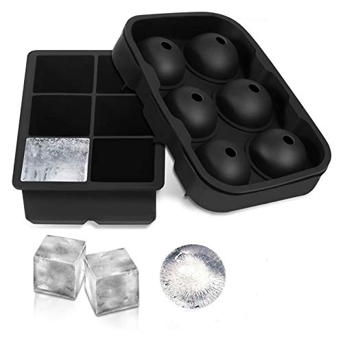 Ice Cube Trays, Life Silicone Ice Cube Molds Set of 2, Silicone Ice Ball Maker with Lid & Large Square Molds for Whiskey and Cocktails or Homemade,BPA Free (Color : Black(Cube))