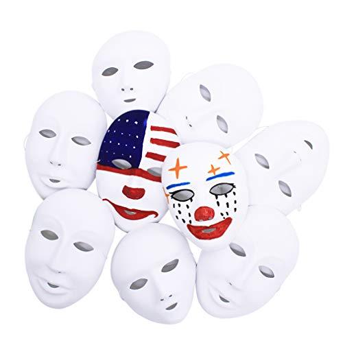 COOKY.D Mascarillas blancas de cara completa para fiestas de cosplay, 24 unidades