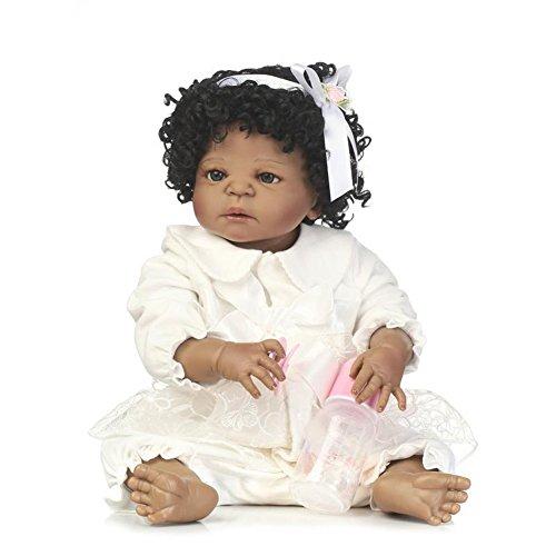 NPKDOLL Reborn Baby Doll Stile Indiano 22 pollici 55 cm Silicone di Simulazione Dura Ragazzo Ragazza Regalo Realistica Rambola Giocattolo per Bambini Compleanno e Natale a232