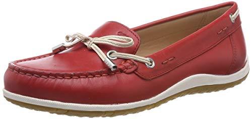 Geox D Vega Moc B, Mocasines para Mujer, Rojo (Scarlet/Off White C7y1q), 35 EU