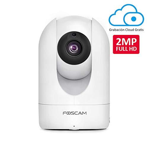 Foscam R2M 2MP Cámara IP WiFi, Seguridad, 8h Grabación Gratis en la Nube, AI Detección Humana, Visión Nocturna, Compatible con Alexa, (P2P, 1080p, ONVIF)