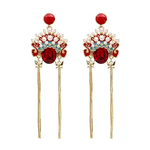 Sttiafay pendientes largos de perlas con borlas Vintage ópera de Pekín pendientes colgantes pendientes llamativos para mujeres y niñas fiesta diaria