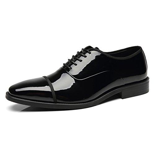 Faranzi Tuxedo Shoes Patent Leather Wedding Shoes for Men Cap Toe Lace up Formal Business Oxford Shoes  Sonorous-2-black  9