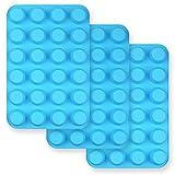homEdge Mini-Muffinform aus Silikon, für 24 Muffins, 3 Packungen, antihaftbeschichtet, für Cupcakes, Törtchen – Blau