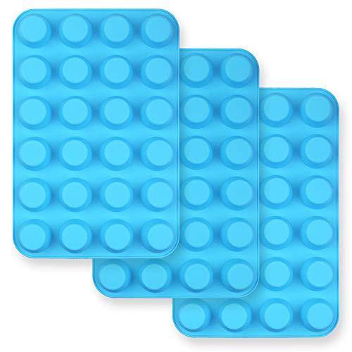 homEdge Lot de 3 moules à muffins en silicone anti-adhésif pour 24 mini muffins – Bleu