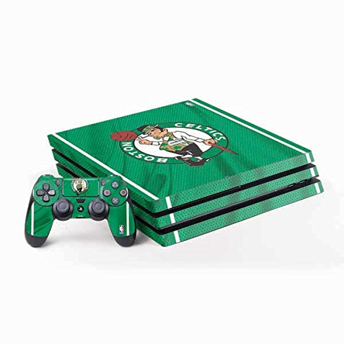 Skinit Decal Gaming Skin Compatible with PS4 Pro Console and Controller Bundle - Officially Licensed NBA Boston Celtics Design