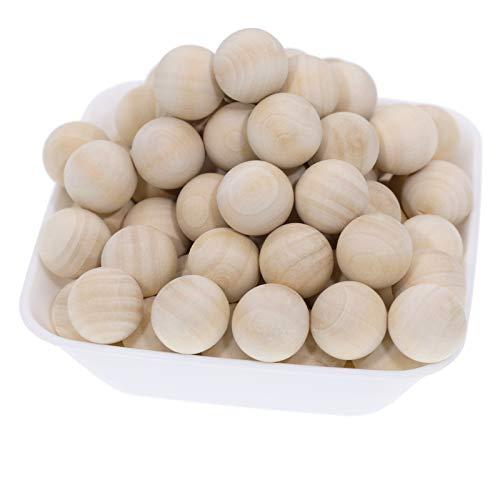 witgift Holzkugeln,60 Stück Holzbälle Rund Unlackiert Naturholz Holzperlen Bastelperlen für DIY Schmuck Zubehör zum Basteln (20MM)