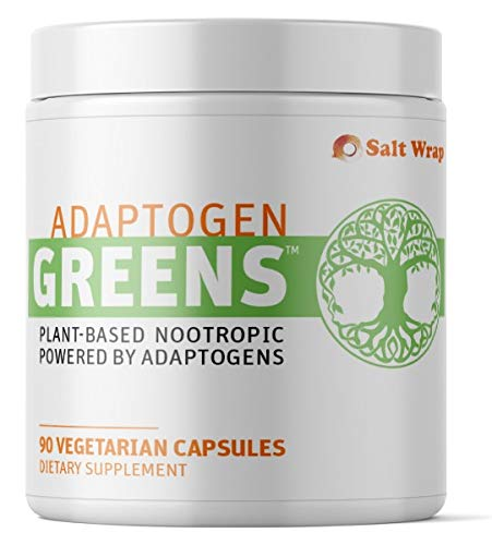 SaltWrap Adaptogen Greens Caffeine Free Nootropic Pills for Stress, Natural Energy, & Mood Boost – Best Natural Stimulant Free Brain Supplement for Focus, Anxiety, Adrenal & Cortisol – 45 SRV, 90 Cap
