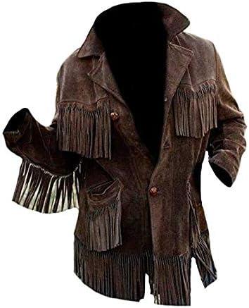 Coolhides Men's Western Cowboy Fringed Coat Suede Jacket