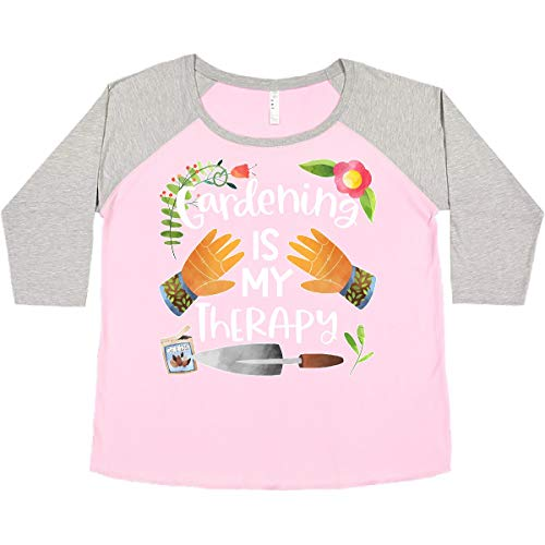 inktastic Gardening Women's Plus Size T-Shirt 2X Baseball Pink and Heather 3bc37