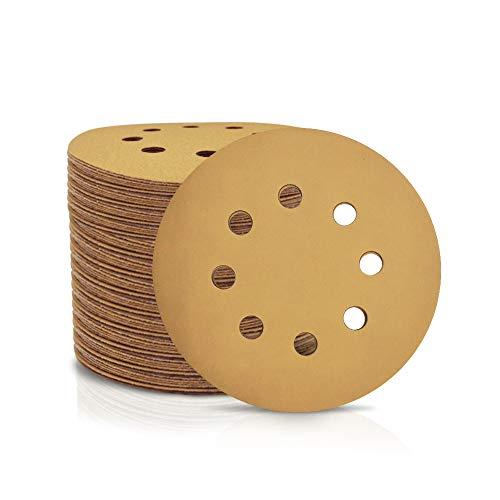 SPEEDWOX 100 discos de lija de 125 mm con 8 agujeros sin polvo con gancho y papel de lija para lijadora orbital al al azar, Grano 320, discos de acabado amarillo para carpintería automotriz