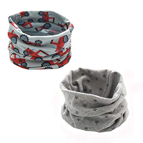ENSTAB 2 Stück Loop Kinder Baumwolle Herbst Winter Schal Baby Loop Hals Wärmer Mädchen und Junge (Junge C-2)